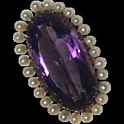 Victorian 14k Krementz Amethyst Seed Pearl Watch Fob Pendant Brooch