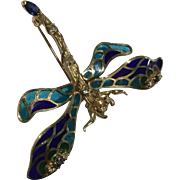 House of Carl Faberge Solid 14k Plique A Jour Enamel Dragonfly With Sapphires Diamonds & Aquamarines