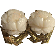18k Large 17 Grams Carved White Angel Skin Coral Earrings