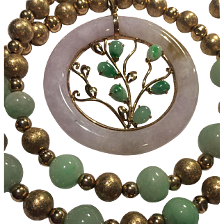 14k Amazing Genuine Jade Pendant And Necklace