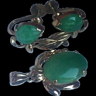 14k TY Lee Hong Kong Natural Jade Earrings & Pendant