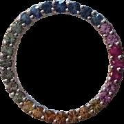 3 Carat 14k Genuine Sapphire Halo Circle Pendant