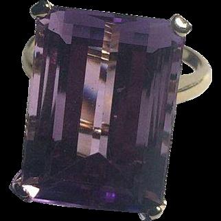Huge 14k Emerald Cut Amethyst Ring 20x13