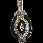 14k Diamond Onyx White Gold Deco Pendant