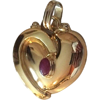 1/2 Ounce 18k Gold Designer Pendant with Genuine Cabochon Ruby