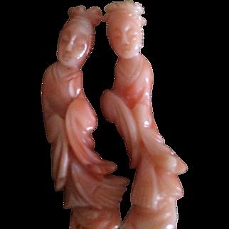 Pair Carved Natural Angel Skin Coral Kwan Lin