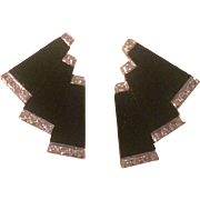 14k Black Onyx Diamond Earrings Art Deco Style