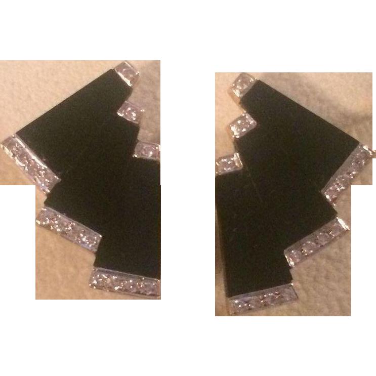 14k Black Onyx Diamond Earrings