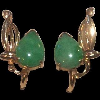 14k Ty Lee Apple Green Jade Earrings Signed & Numbered