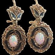 14k Fiery Opal & Black Enamel Filigree Drop Earrings