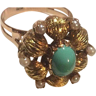 14k Turquoise & Seed Pearl Ring