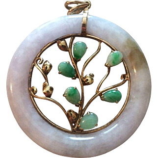 Large 14k Apple Green Jade Pendant