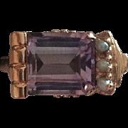 14k Art Nouveau 5 Carat Emerald Cut Amethyst & Pearl Ring