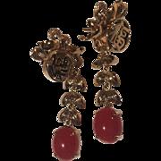 Large 14k Red Coral Oxblood Drop Earrings Ty Lee Co