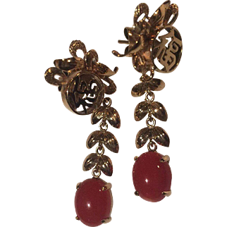 Large 14k Red Coral Oxblood Drop Earrings Ty Lee Co