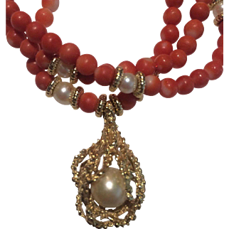14k Salmon Red Momo Coral Necklace & Gold Reef Pearl Pendant