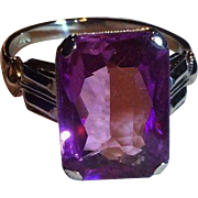 14k Emerald Cut Amethyst Ring White Gold Beautifully Etched Design