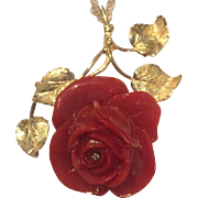 Massive 18k Carved Oxblood Red Coral Flower Pendant With Diamond