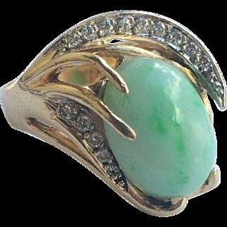 14k Custom Diamond Jade Moss In Snow Ring
