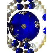 Large 14k Velvet Royal Blue Lapis Pearl Pendant Necklace