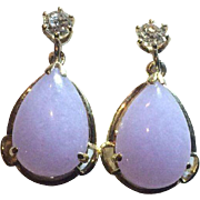 14k  Diamond Natural Lavender Jade Drop Earrings