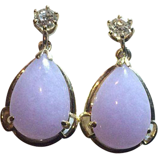 14k  Diamond Natural Lavender Jade Drop Earrings