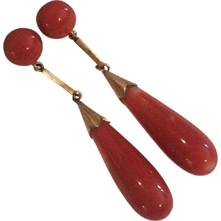 Captivating 14k Natural Coral Drop Earrings