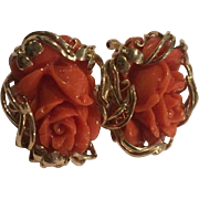 Stunning 14k Salmon Carved Coral Earrings
