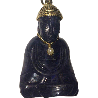 Large 14k Carved Amethyst Buddha Pendant With Pearl