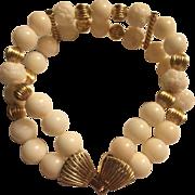 Captivating 14k Large Genuine Natural Winter White Angel skin Coral Bracelet
