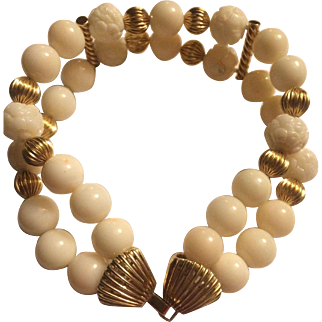Captivating 14k Large Genuine Natural Winter White Angel skin Coral Bracelet