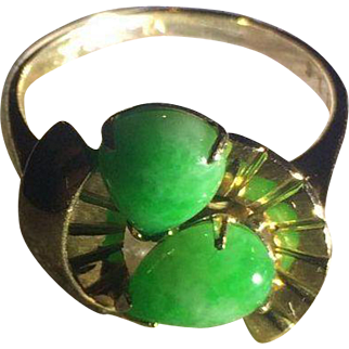 14k Art Deco Ty Lee Natural Jade Ring Signed and Numbered