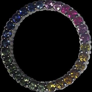 14k 2.75-3 Carat Effy BH Fancy Sapphire Circle Pendant