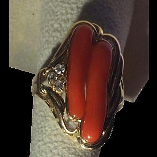 Large 14k Diamond Natural Red Coral Ring