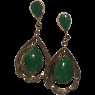 14k Green Chrysoprase Drop Earrings