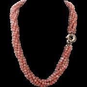 102 Grams 14k Angel Skin Coral Necklace