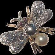 Platinum & 18k Art Deco Bee With Ruby Eyes Diamond Wings Brooch