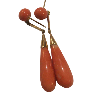 Large 14k Natural Salmon Coral Drop Earring