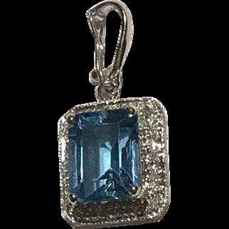 14k White Gold Diamond Blue Topaz Enhancer Pendant