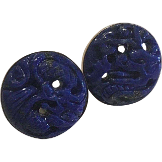Large 14k Carved Dragon Natural Lapis Earrings