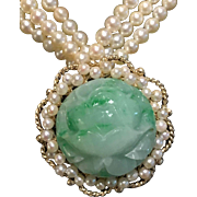Breathtaking 14k Carved Jade Pendant & Pearl Necklace