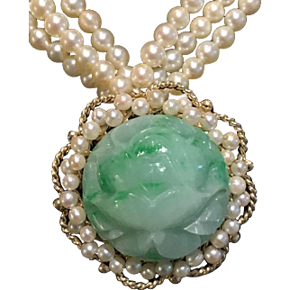 Breathtaking 14k Carved Jade Pendant & Pearl Necklace