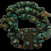 98 Gram Chinese Turquoise 3 Strand Bracelet