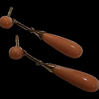 14k Momo Coral Pinky Salmon Drop Earrings