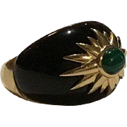 Beautifully Bold 14k Black Onyx & Malachite Dome Ring
