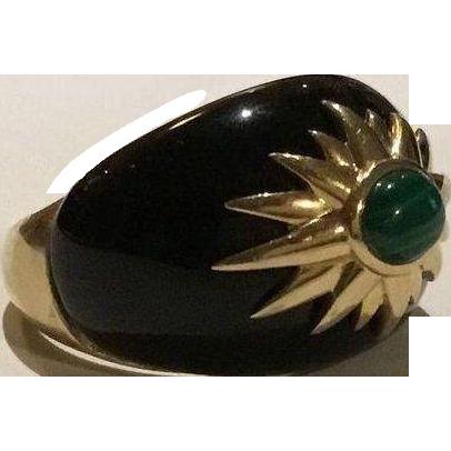 Beautifully Bold 14k Black Onyx & Malachite Dome Ring
