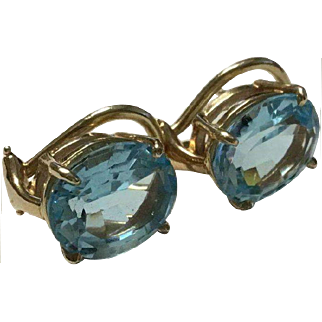 Large 9 Carat (4.5 ct Each) Blue Topaz 14k Omega Back Pierced Earrings
