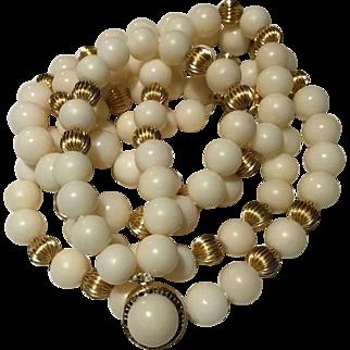 Elegant 88 Gram 14k Angel Skin Double Strand  Coral Necklace