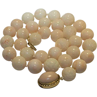 95.3 Gram Breathtaking 18k 12-13mm Angel Skin Coral Necklace