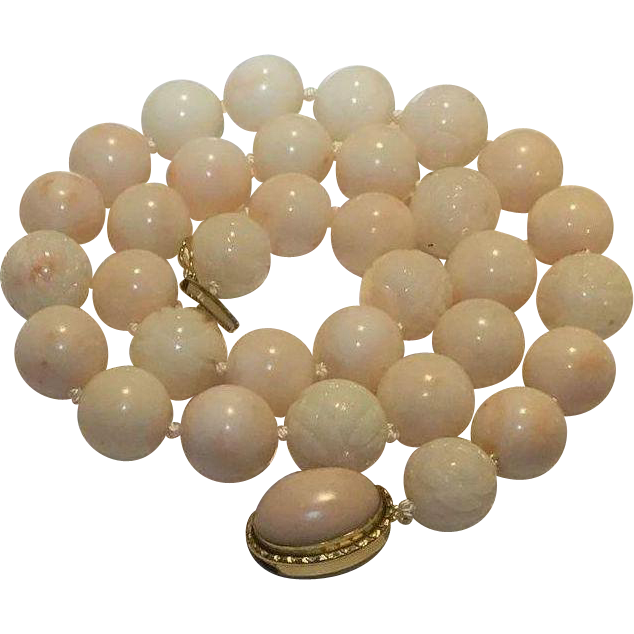 95.3 Gram Breathtaking 18k 12-13mm Angel Skin Coral Necklace